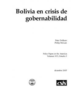 Bolivia en crisis de gobernabilidad