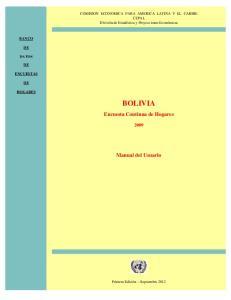BOLIVIA. Encuesta Continua de Hogares. Manual del Usuario