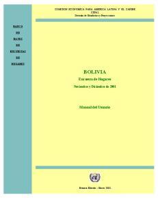 BOLIVIA. Encuesta de Hogares. Manual del Usuario. Noviembre y Diciembre de 2001