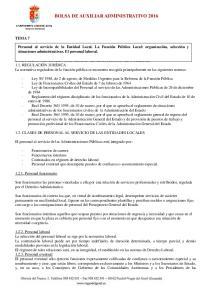 BOLSA DE AUXILIAR ADMINISTRATIVO 2016