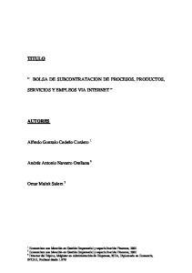 BOLSA DE SUBCONTRATACION DE PROCESOS, PRODUCTOS,