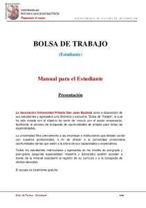 BOLSA DE TRABAJO. (Estudiante) Manual para el Estudiante. Presentación