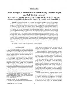 Bond Strength of Orthodontic Brackets Using Different Light and Self-Curing Cements