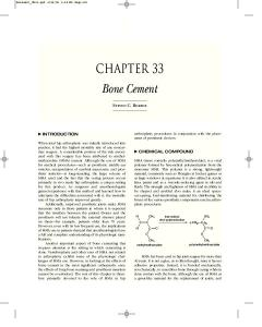 Bone Cement CHAPTER 33 STEVEN C. BORENE INTRODUCTION CHEMICAL COMPOUND