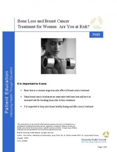 Bone Loss and Breast Cancer Treatment for Women: Are You at Risk?