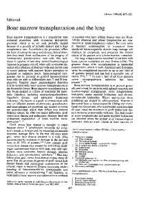 Bone marrow transplantation and the lung