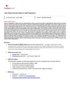 Bone Mineral Density Studies in Adult Populations