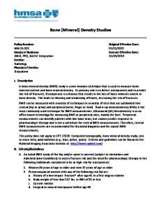 Bone (Mineral) Density Studies