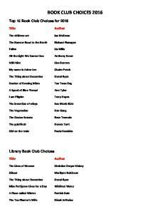 BOOK CLUB CHOICES 2016