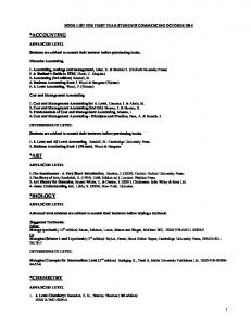 BOOK LIST FOR FIRST YEAR STUDENTS COMMENCING OCTOBER 2014