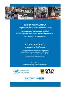 BOOK OF ABSTRACTS International Conference