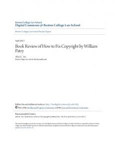 Book Review of How to Fix Copyright by William Patry