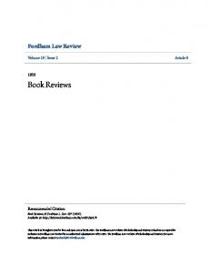 Book Reviews. Fordham Law Review. Volume 19 Issue 2 Article 8. Recommended Citation