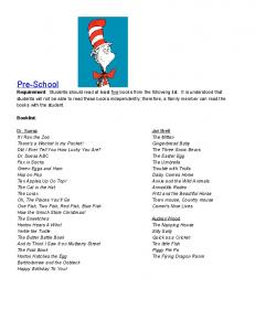 Booklist: Fritz and the Beautiful Horse. One Fish, Two Fish, Red Fish, Blue Fish How the Grinch Stole Christmas!