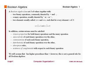 Boolean Algebra. Boolean Algebra