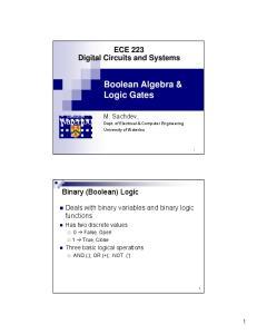 Boolean Algebra & Logic Gates