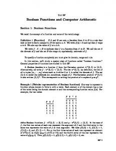 Boolean Functions and Computer Arithmetic