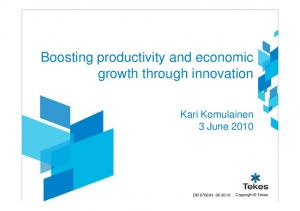 Boosting productivity and economic growth through innovation