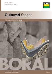 Boral STONE Build something great. Cultured Stone. technical information guide