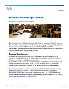 Borderless Networks Specialization