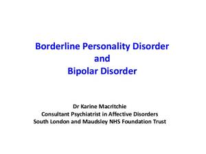 Borderline Personality Disorder and Bipolar Disorder