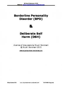 Borderline Personality Disorder (BPD) Deliberate Self Harm (DSH)