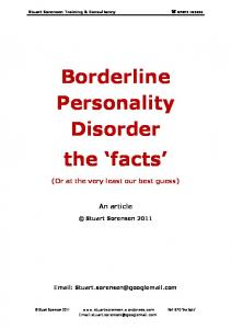 Borderline Personality Disorder the facts