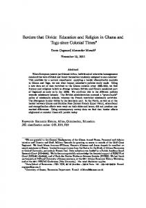 Borders that Divide: Education and Religion in Ghana and Togo since Colonial Times