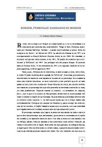 BORGES, PERSONAJE NARRADOR DE BORGES