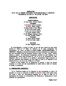 BORRADOR ACTA DE LA SESIÓN PLENARIA EXTRAORDINARIA Y URGENTE CELEBRADA EL DÍA 15 DE JULIO DE ASISTENTES
