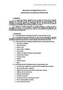 Borrador de Reglamento de la Biblioteca Municipal de Pedrezuela