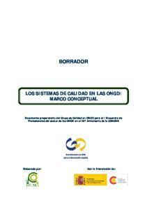 BORRADOR LOS SISTEMAS DE CALIDAD EN LAS ONGD: MARCO CONCEPTUAL