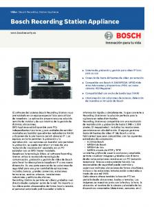 Bosch Recording Station Appliance