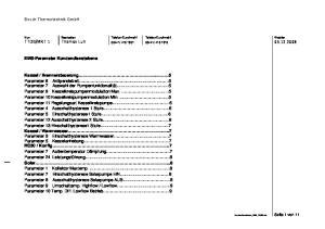Bosch Thermotechnik GmbH. EMS-Parameter Kundendienstebene