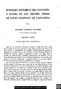 BOSQUEJO HISTÓRICO DEL CONVENTO E IGLESIA DE SAN ISIDORO, ORDEN DE SANTO DOMINGO, DE CARTAGENA