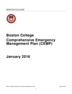 Boston College Comprehensive Emergency Management Plan (CEMP)