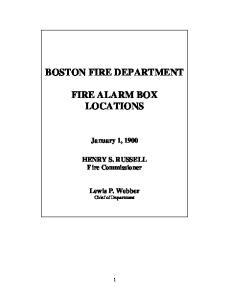 BOSTON FIRE DEPARTMENT FIRE ALARM BOX LOCATIONS
