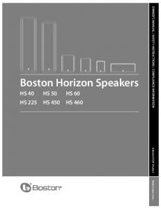 Boston Horizon Speakers HS 40 HS 50 HS 60 HS 225 HS 450 HS 460