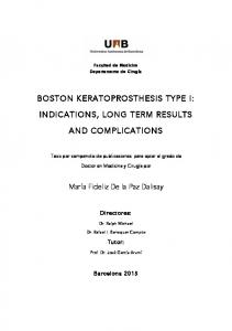 BOSTON KERATOPROSTHESIS TYPE I: INDICATIONS, LONG TERM RESULTS AND COMPLICATIONS
