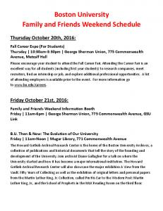 Boston University Family and Friends Weekend Schedule