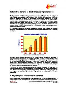 Bottom Line Benefits of Safety Lifecycle Implementation