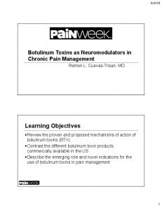 Botulinum Toxins as Neuromodulators in Chronic Pain Management