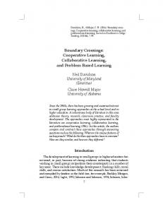 Boundary Crossings: Cooperative Learning, Collaborative Learning, and Problem-Based Learning