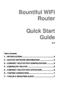Bountiful WiFi Router. Quick Start Guide