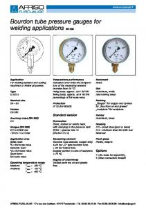 Bourdon tube pressure gauges for welding applications EN 562