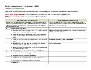 Boy Scout Requirements effective Jan. 1, Comparison to Current Requirements