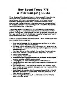 Boy Scout Troop 775 Winter Camping Guide