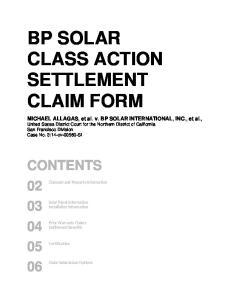 BP SOLAR CLASS ACTION SETTLEMENT CLAIM FORM