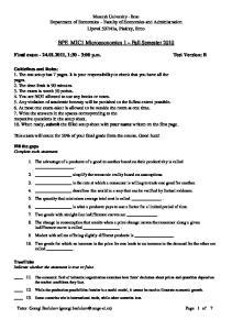 BPE_MIC1 Microeconomics 1 Fall Semester 2010