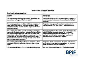 BPIF VAT support service